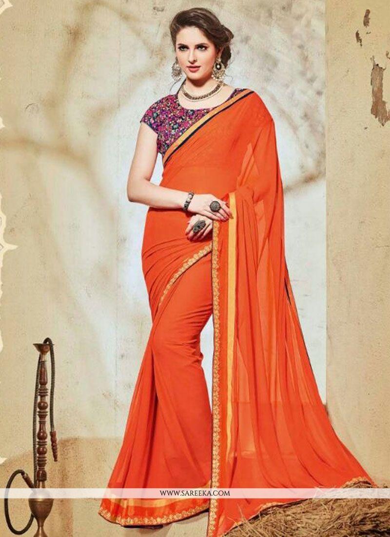 4296d69de42 Buy Georgette Lace Work Designer Saree Online   Indian Ethnic Wear -