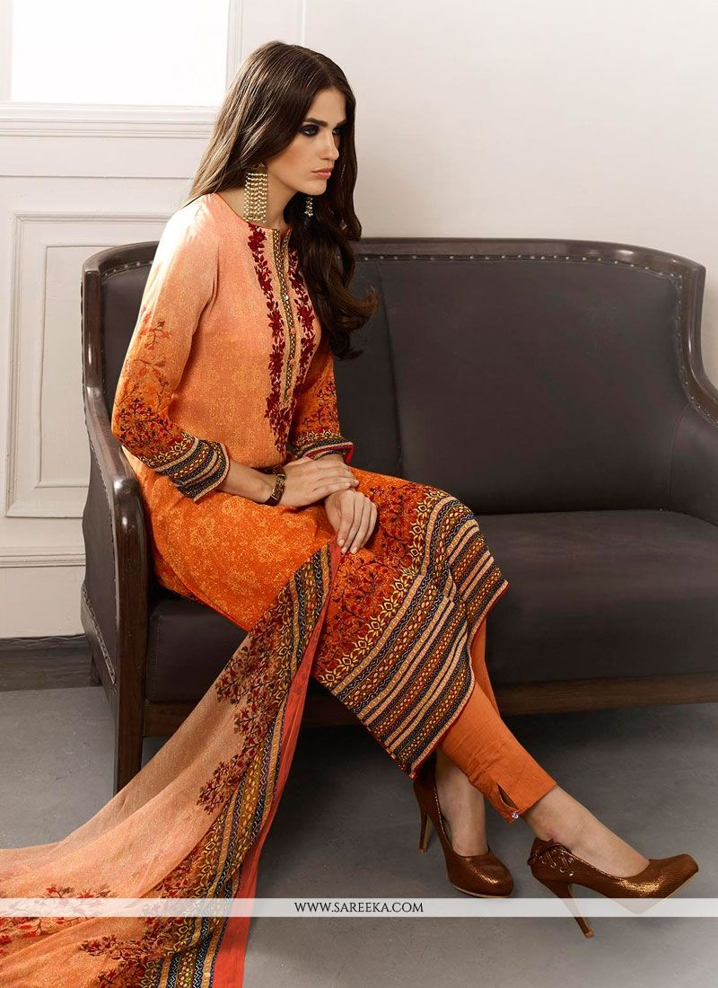 Multi Colour Print Work Georgette Designer Straight Salwar Suit
