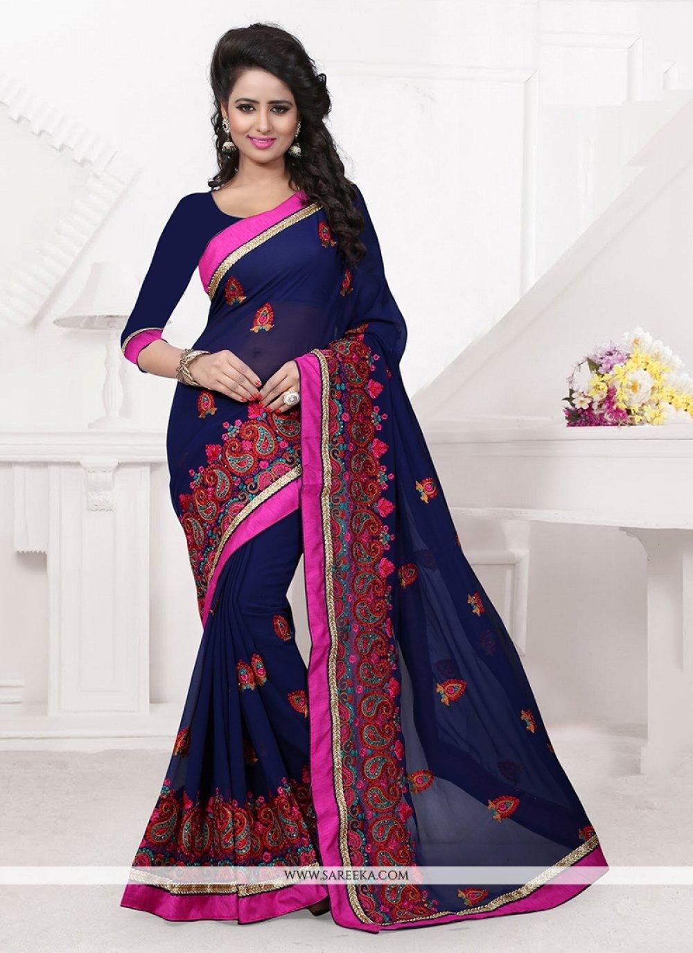 Navy Blue Classic Designer Saree