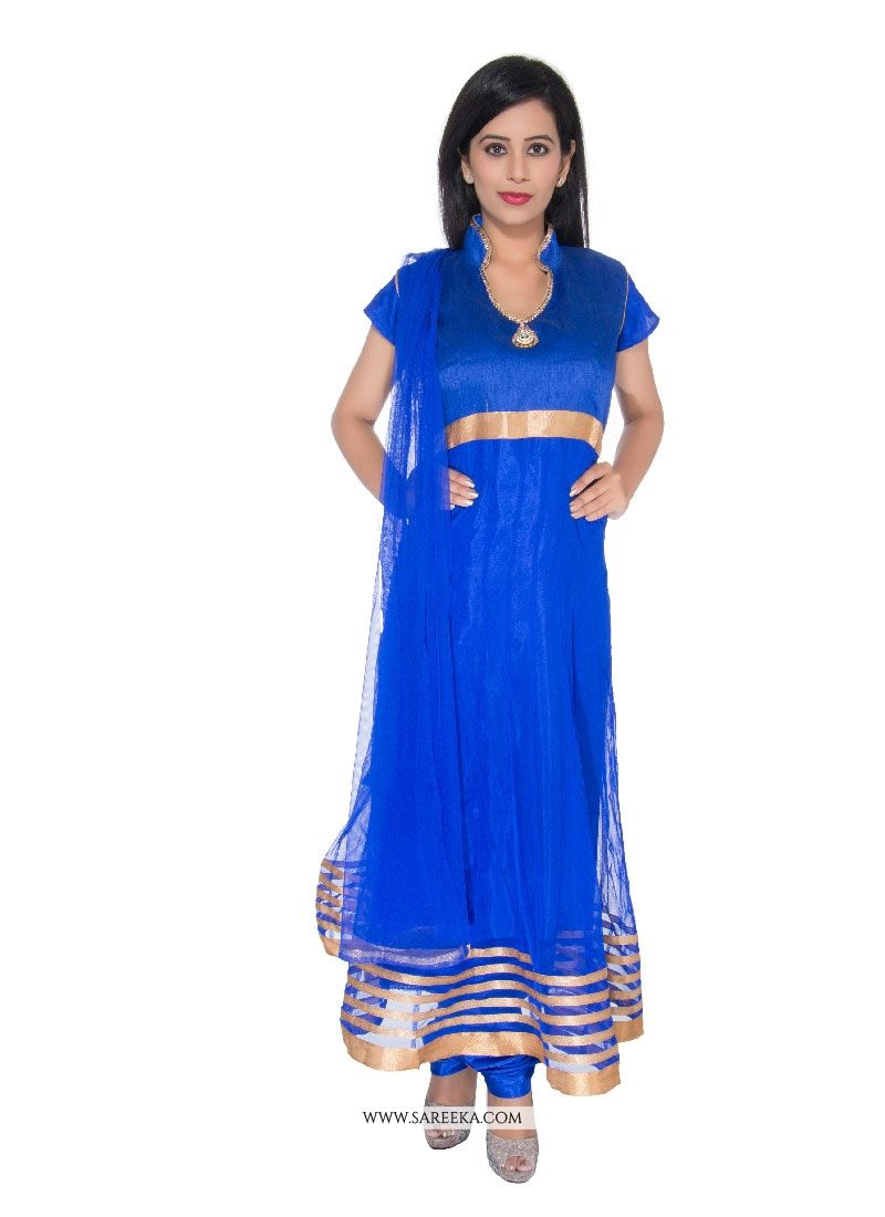 Net Blue Churidar Designer Suit