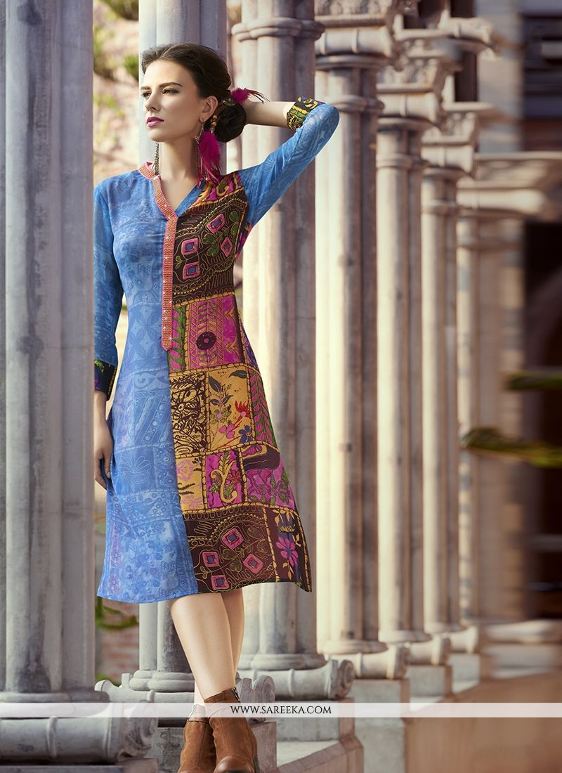 Print Work Multi Colour Georgette Party Wear Kurti