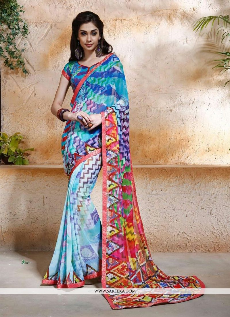 Digital Print Work Multi Colour Designer Saree