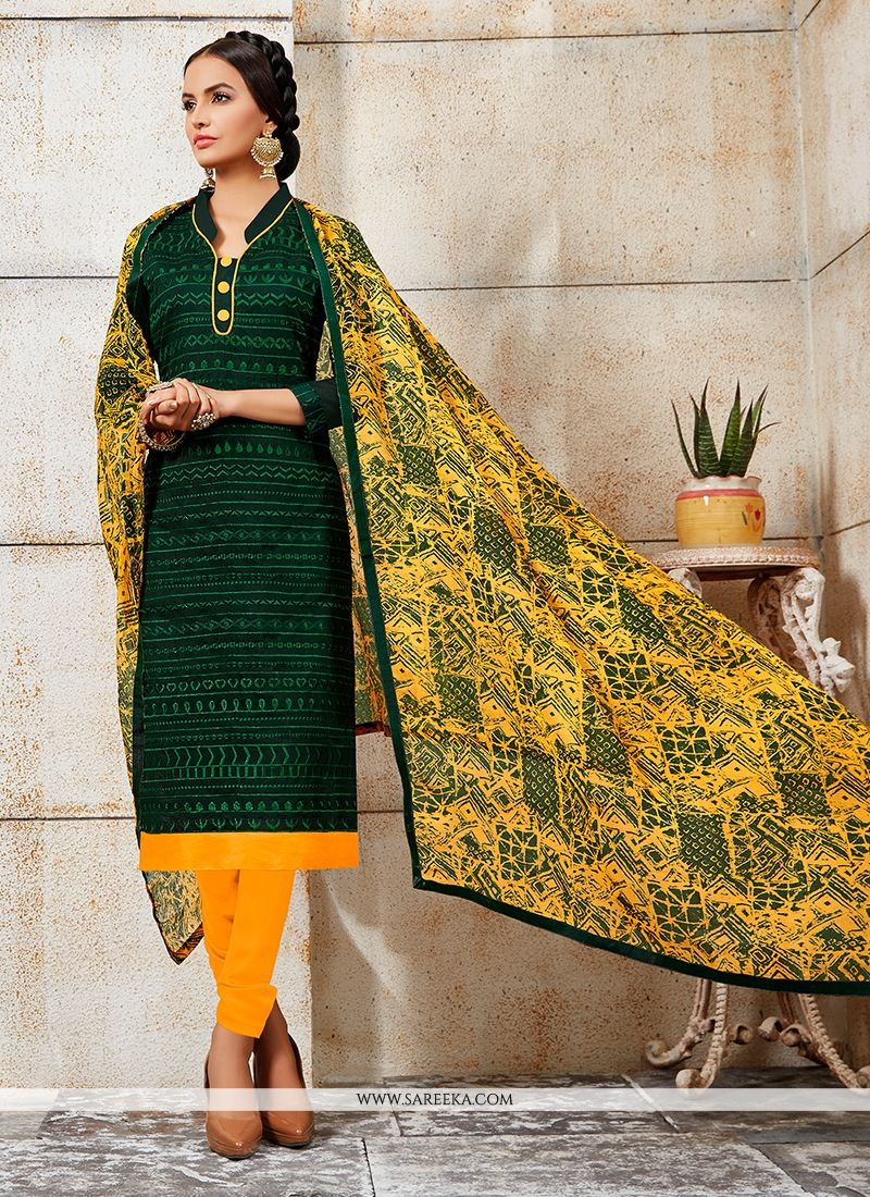 Embroidered Work Green Chanderi Churidar Designer Suit