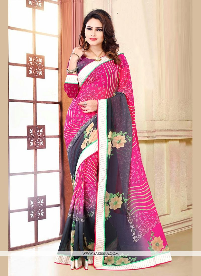 Hot Pink Patch Border Work Casual Saree