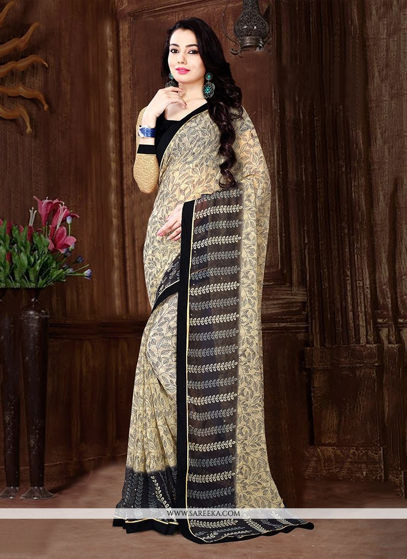 Patch Border Work Beige Georgette Casual Saree
