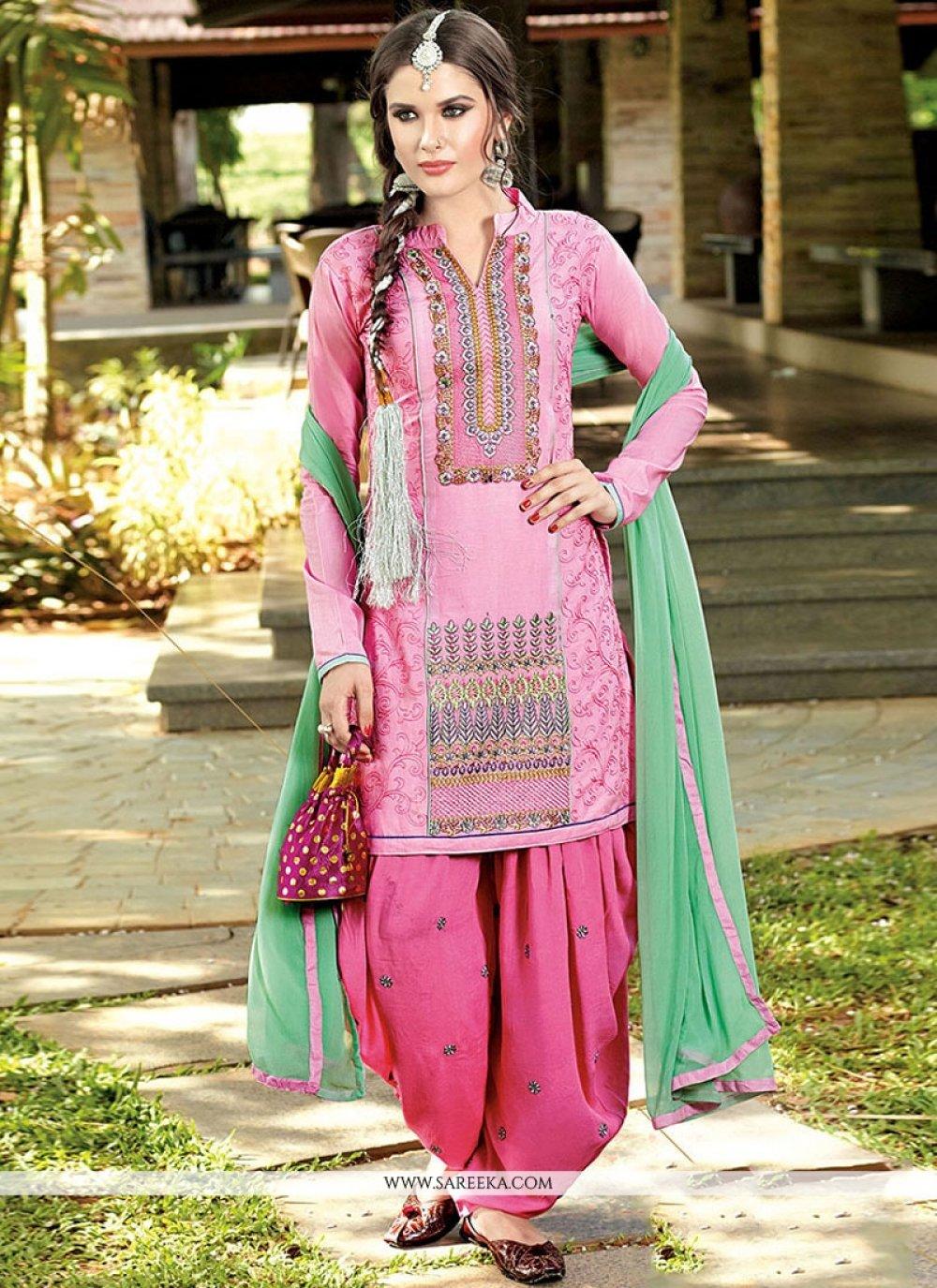 Resham Work Pink Designer Patiala Salwar Kameez