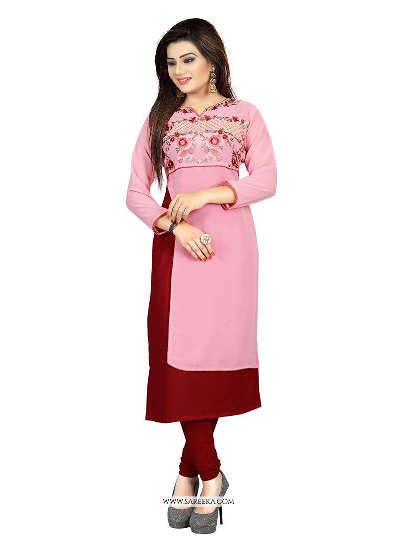 Buy Embroidered Work Pink Georgette Party Wear Kurti Online : UK -