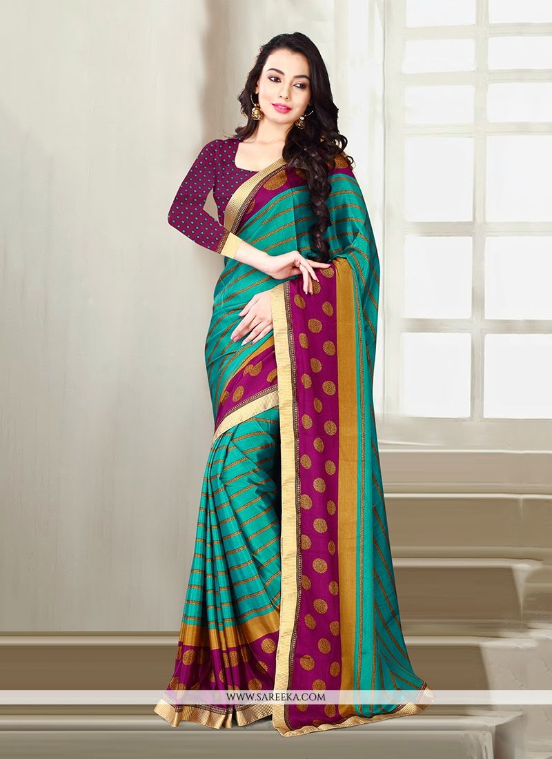 Print Work Sea Green Designer Saree