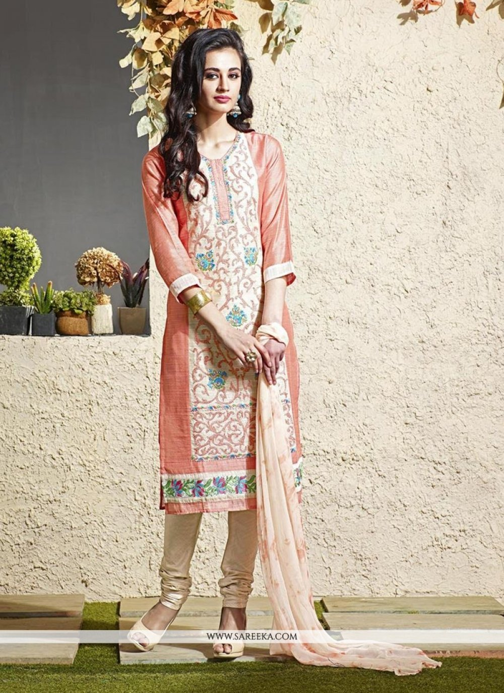 Lace Work Chanderi Cream Readymade Suit