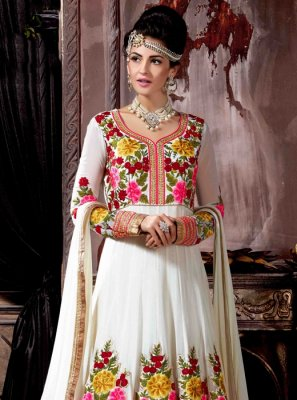 Off White Anarkali Salwar Kameez