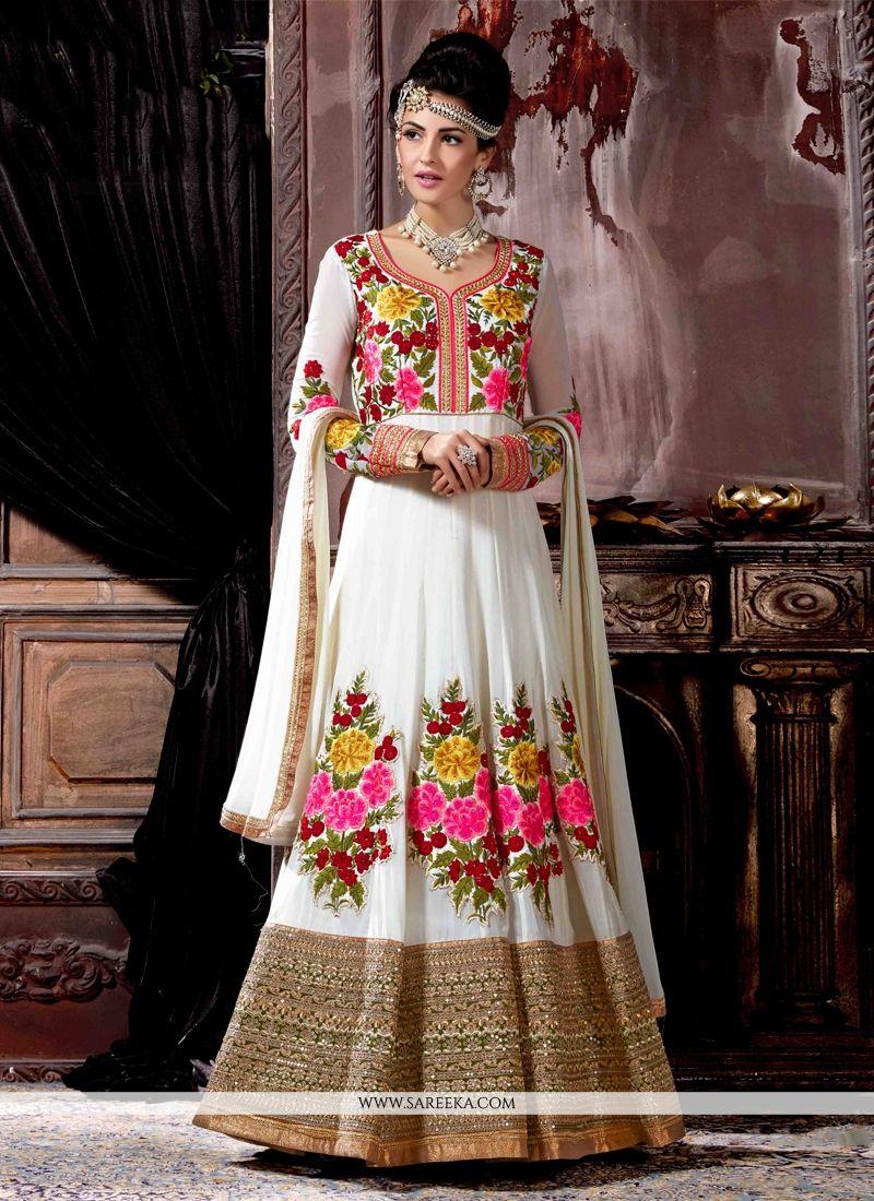 e4efede6cb Buy Off White Anarkali Salwar Kameez Online : UK -
