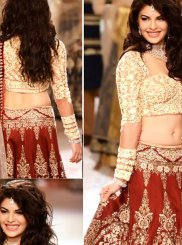 Patch Border Work Red Raw Silk Designer Lehenga Choli