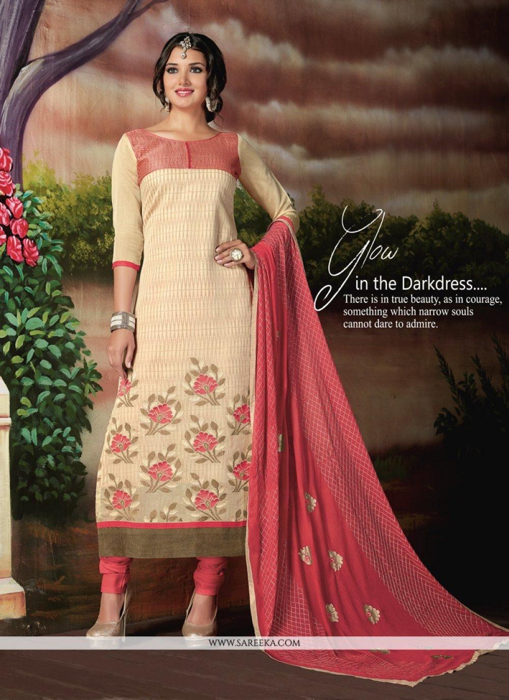 Chanderi Cotton Cream Churidar Designer Suit
