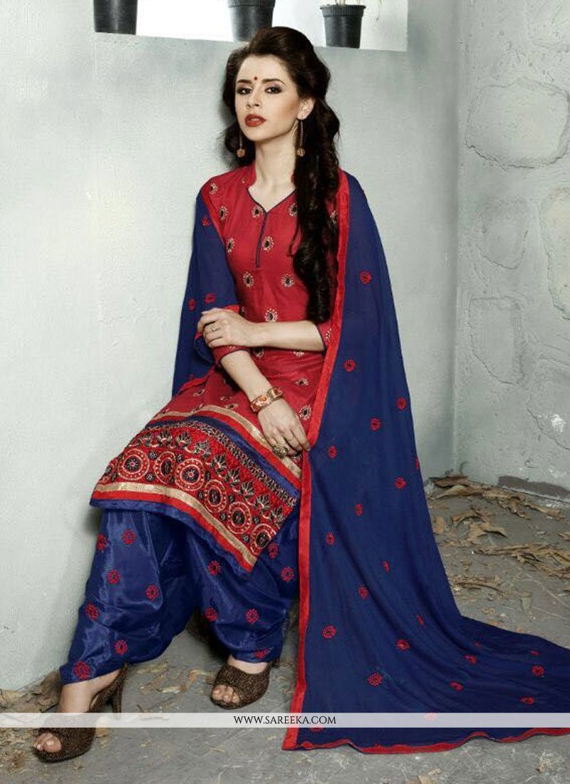 Red Trendy Punjabi Churidar Suit