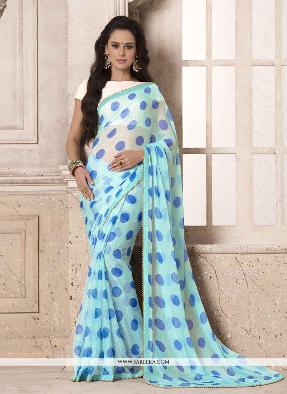 Blue Georgette Printed Saree