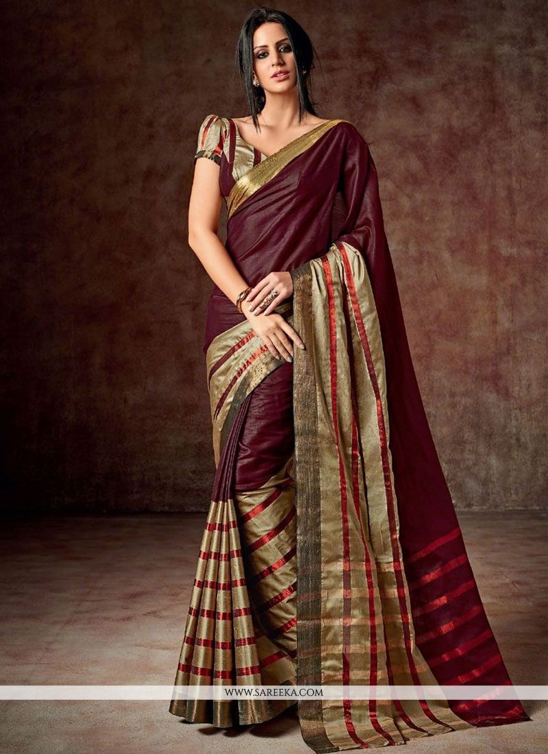 Maroon Patch Border Work Cotton   Casual Saree