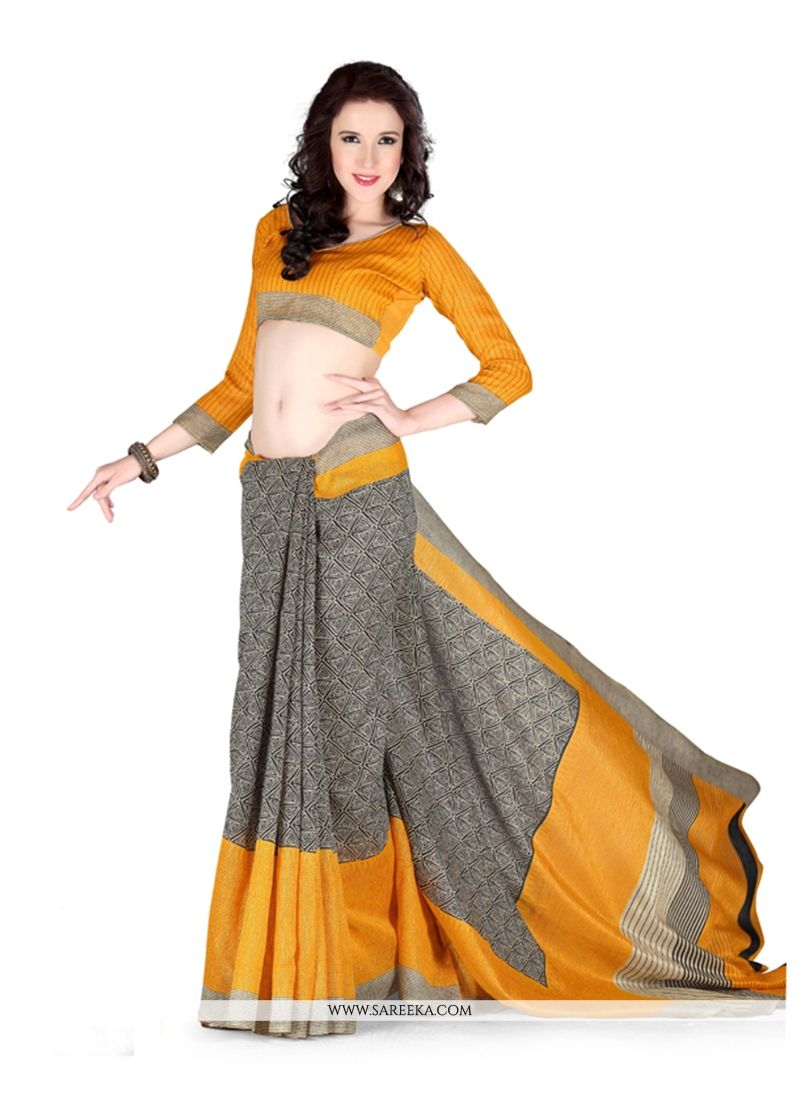 Print Work Art Silk Casual Saree