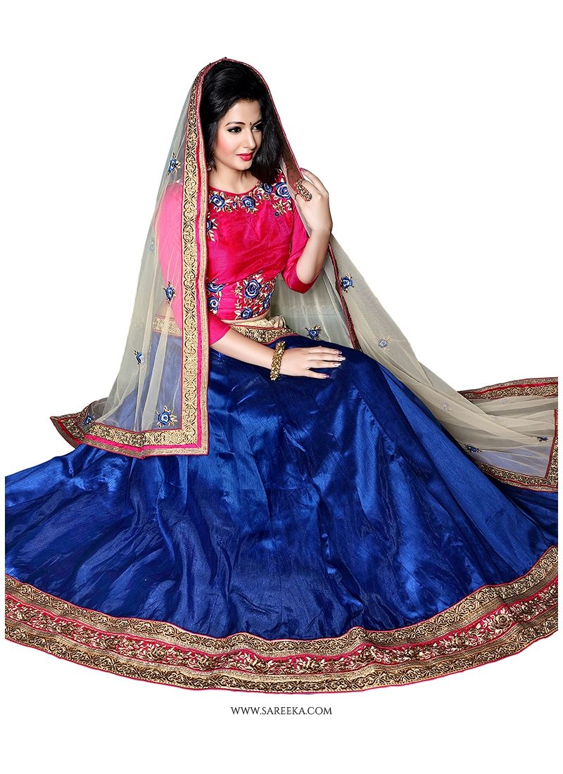 Art Dupion Silk Patch Border Work A Line Lehenga Choli