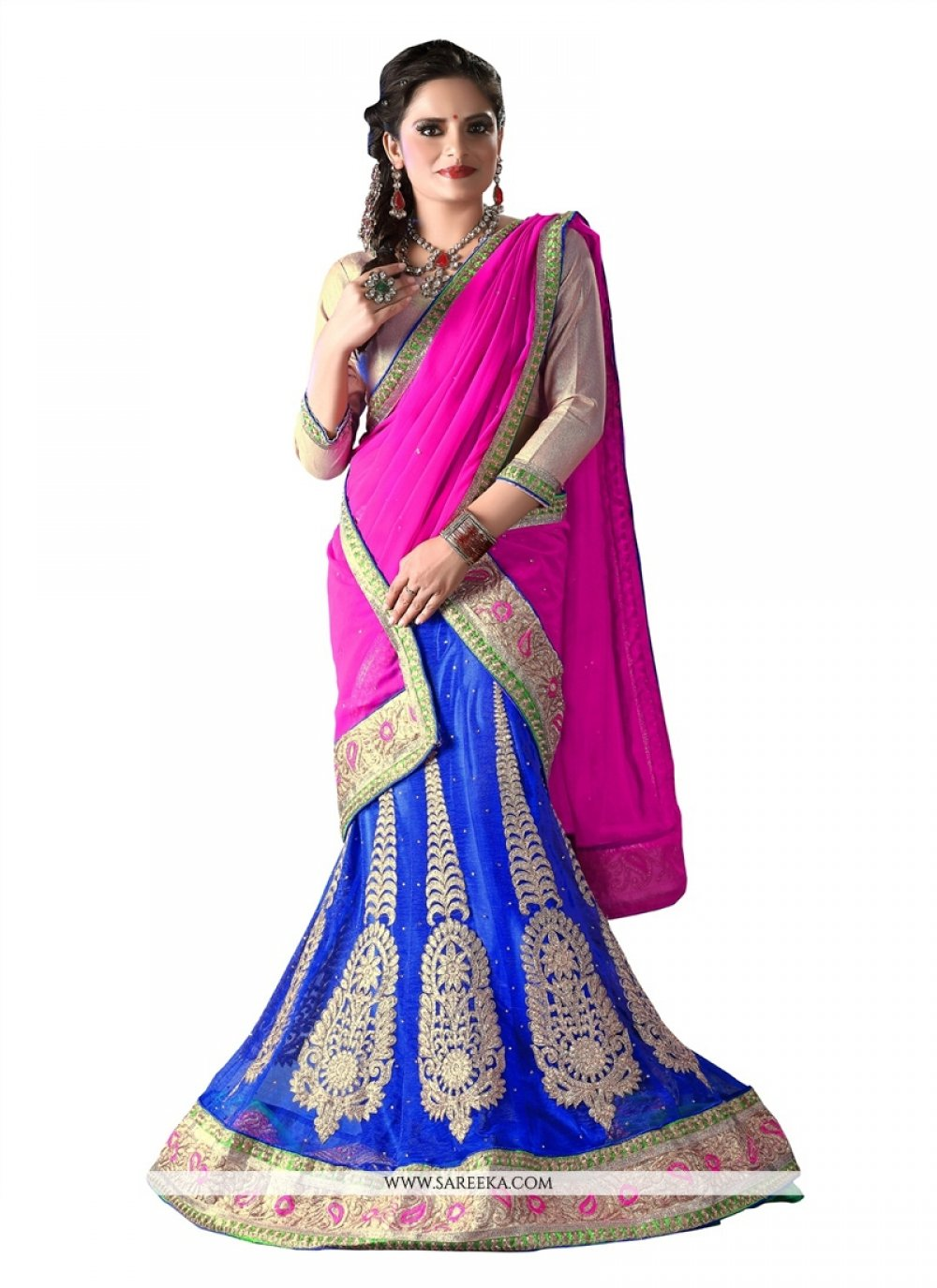 Embroidered Work Blue A Line Lehenga Choli