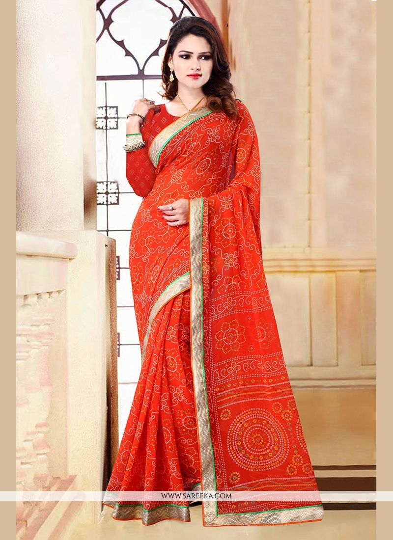 Orange Patch Border Work Georgette Casual Saree