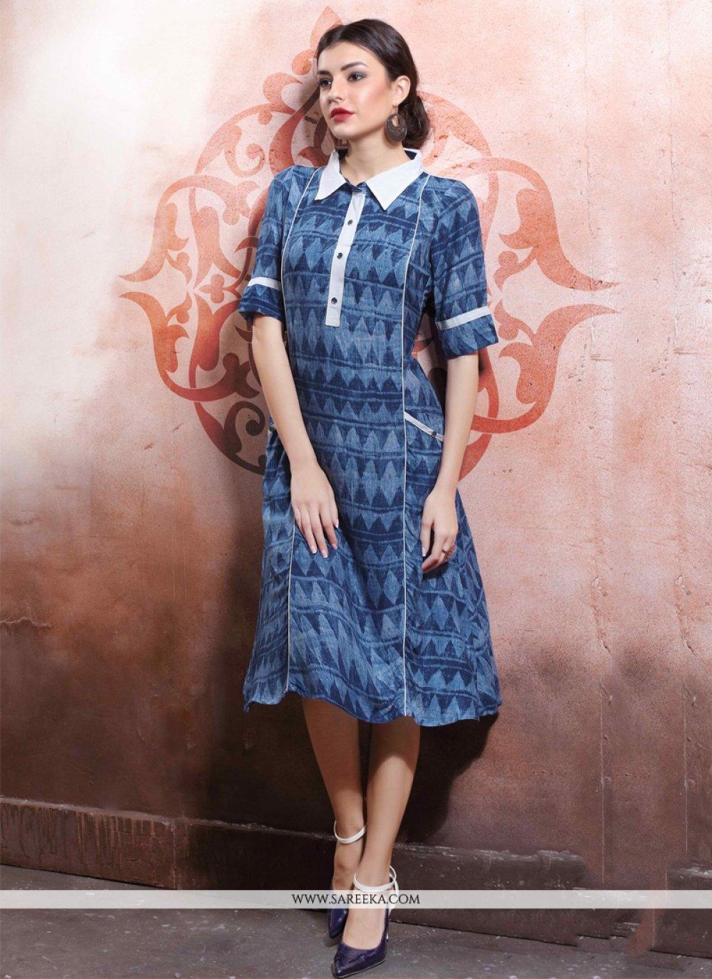 Print Work Cotton   Navy Blue Party Wear Kurti