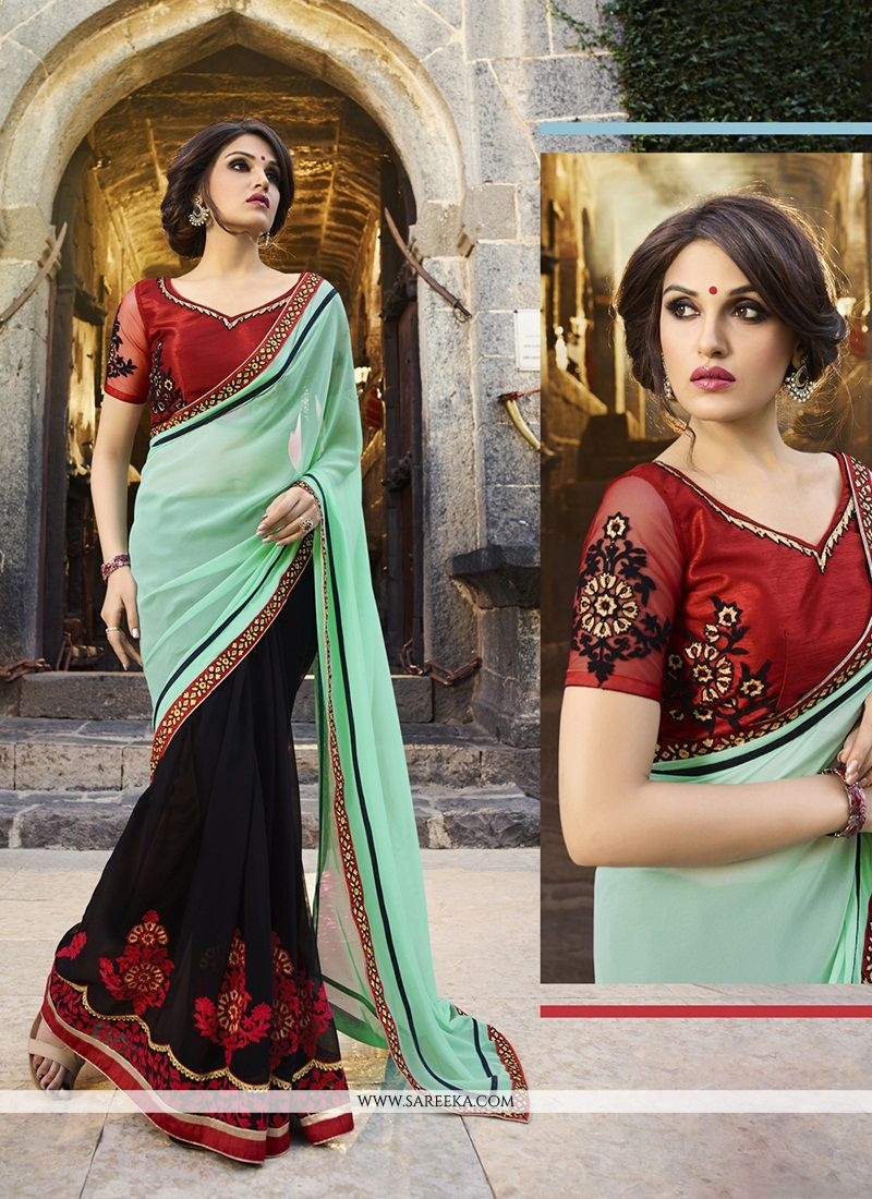 Black Patch Border Work Georgette Classic Designer Saree