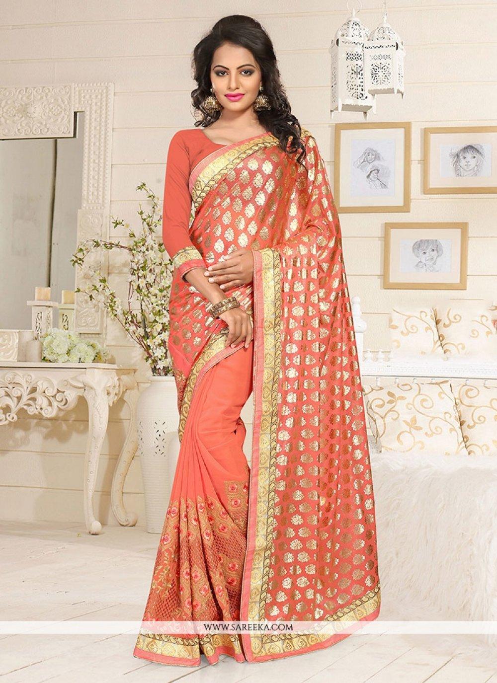 Lycra Orange Designer Saree
