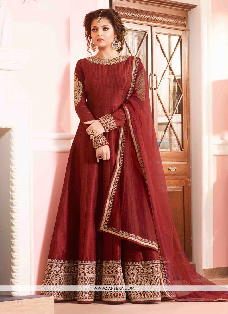 Buy Maroon Silk Designer Floor Length Suit Online : Mauritius ...