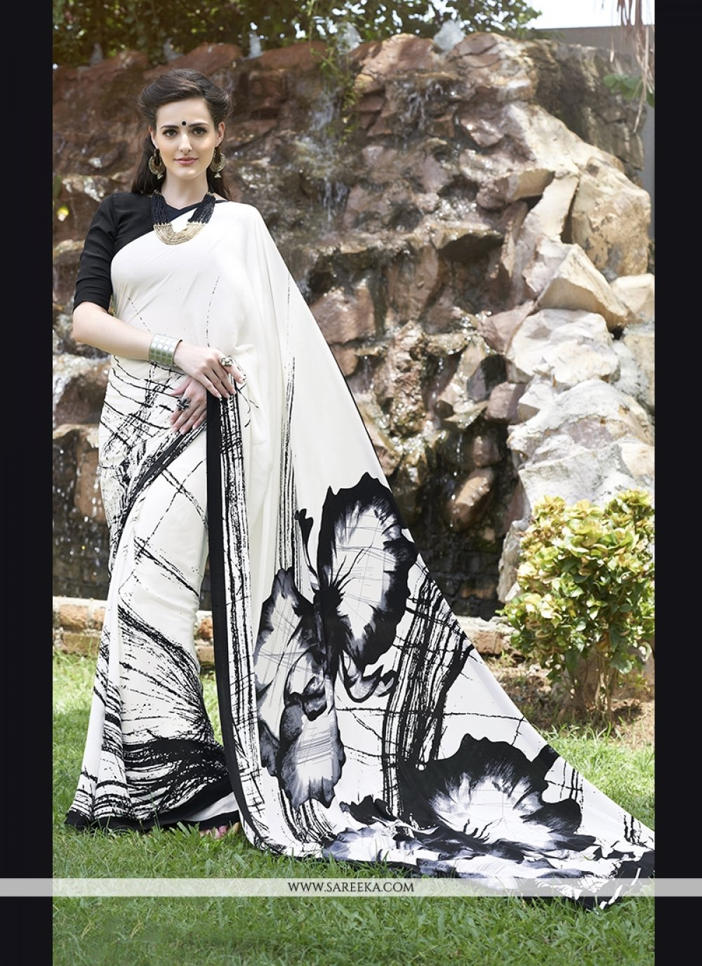 Print Work Off White Faux Crepe Casual Saree
