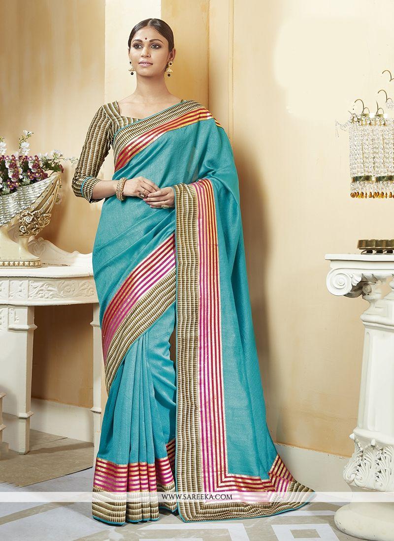 Turquoise Patch Border Work Silk Printed Saree