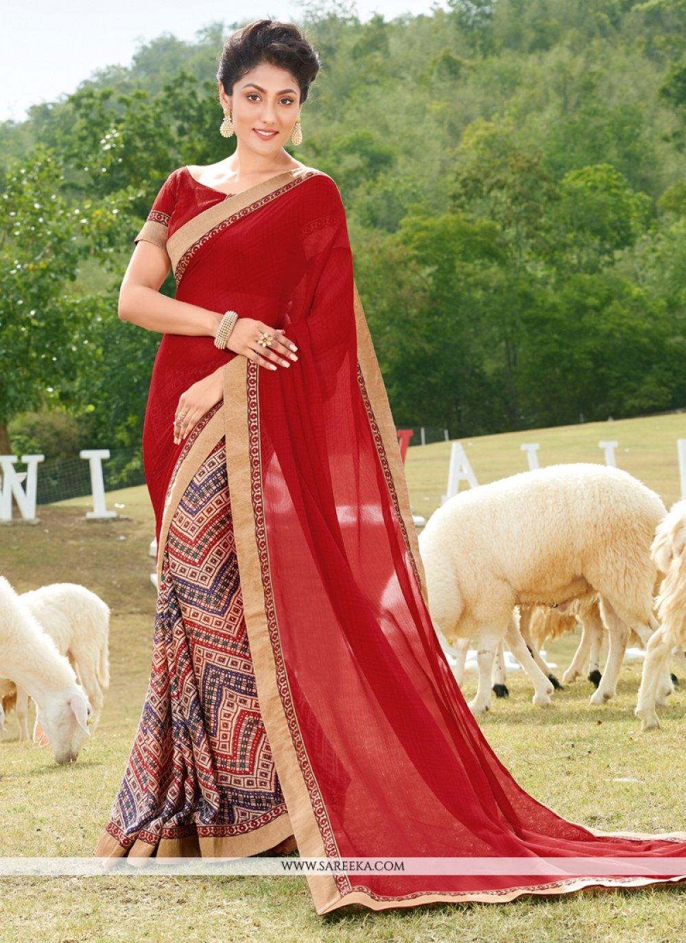 Georgette Multi Colour Printed Saree