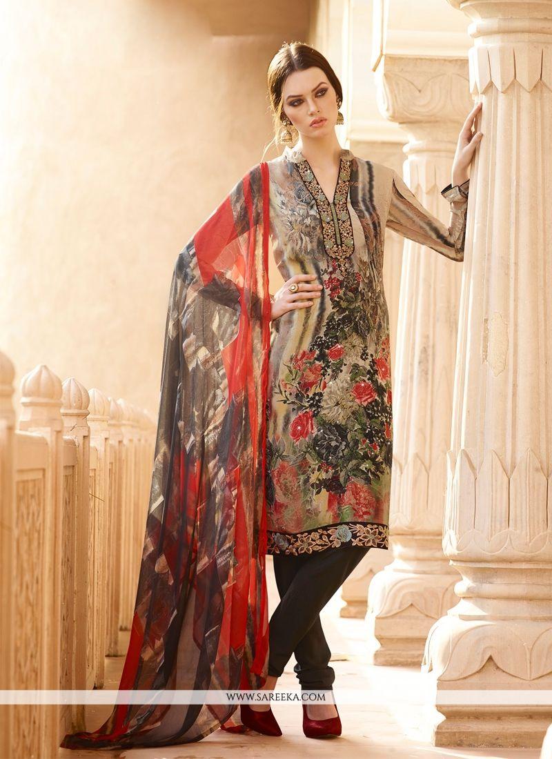 Buy Miraculous Multi Colour Print Work Faux Crepe Churidar ...