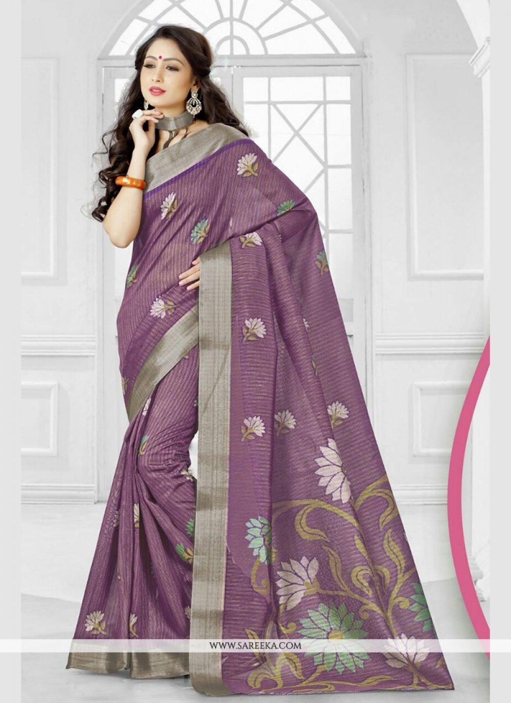 Purple Printed Saree