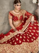 Red Silk A Line Lehenga Choli