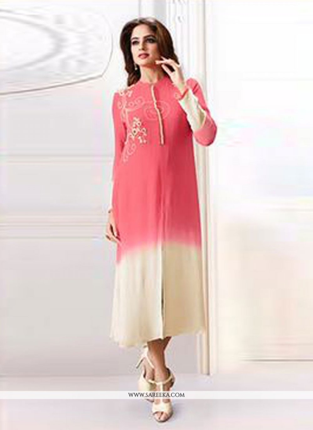 Resham Work Chanderi Pink Designer Kurti