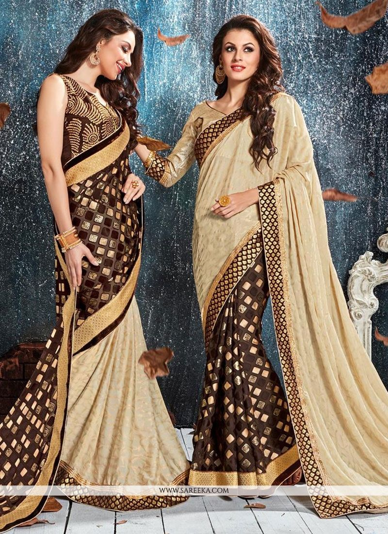 Beige Patch Border Work Classic Designer Saree