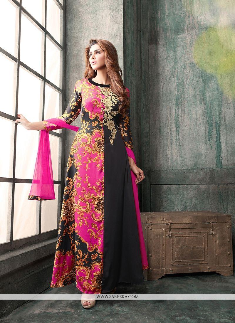 a1bba450bf Buy Black and Hot Pink Anarkali Salwar Kameez Online : UK -