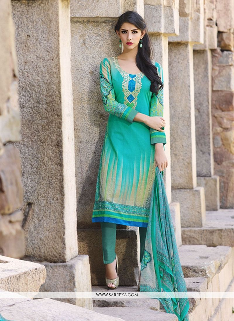 Cotton   Blue and Turquoise Print Work Churidar Designer Suit
