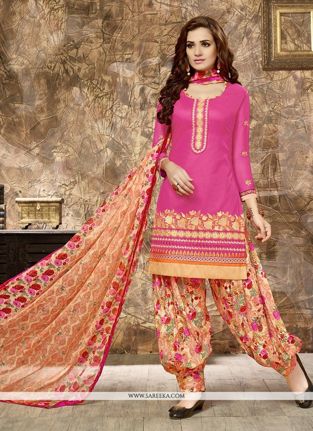 Cotton   Embroidered Work Punjabi Suit
