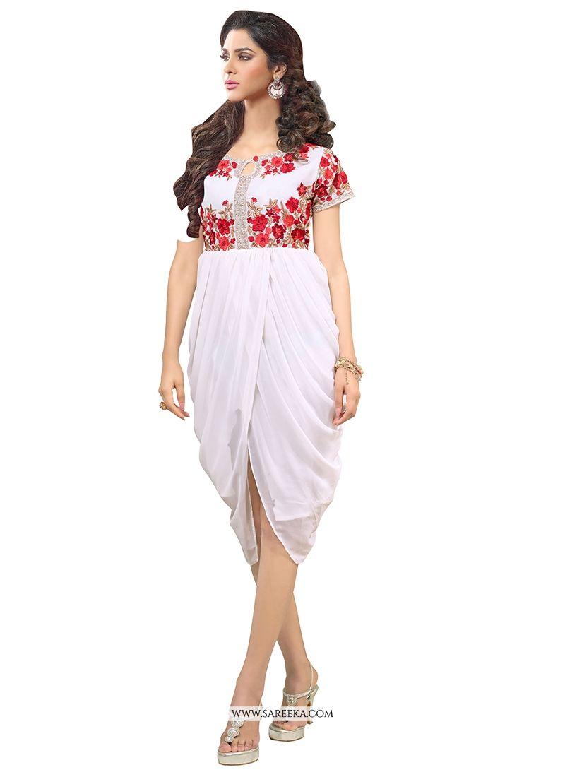 12f050d94a3 Buy Georgette Off White Party Wear Kurti Online   Indian Ethnic Wear -