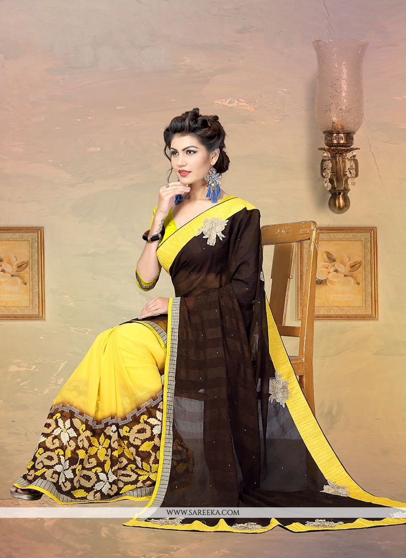 Faux Chiffon Designer Half N Half saree