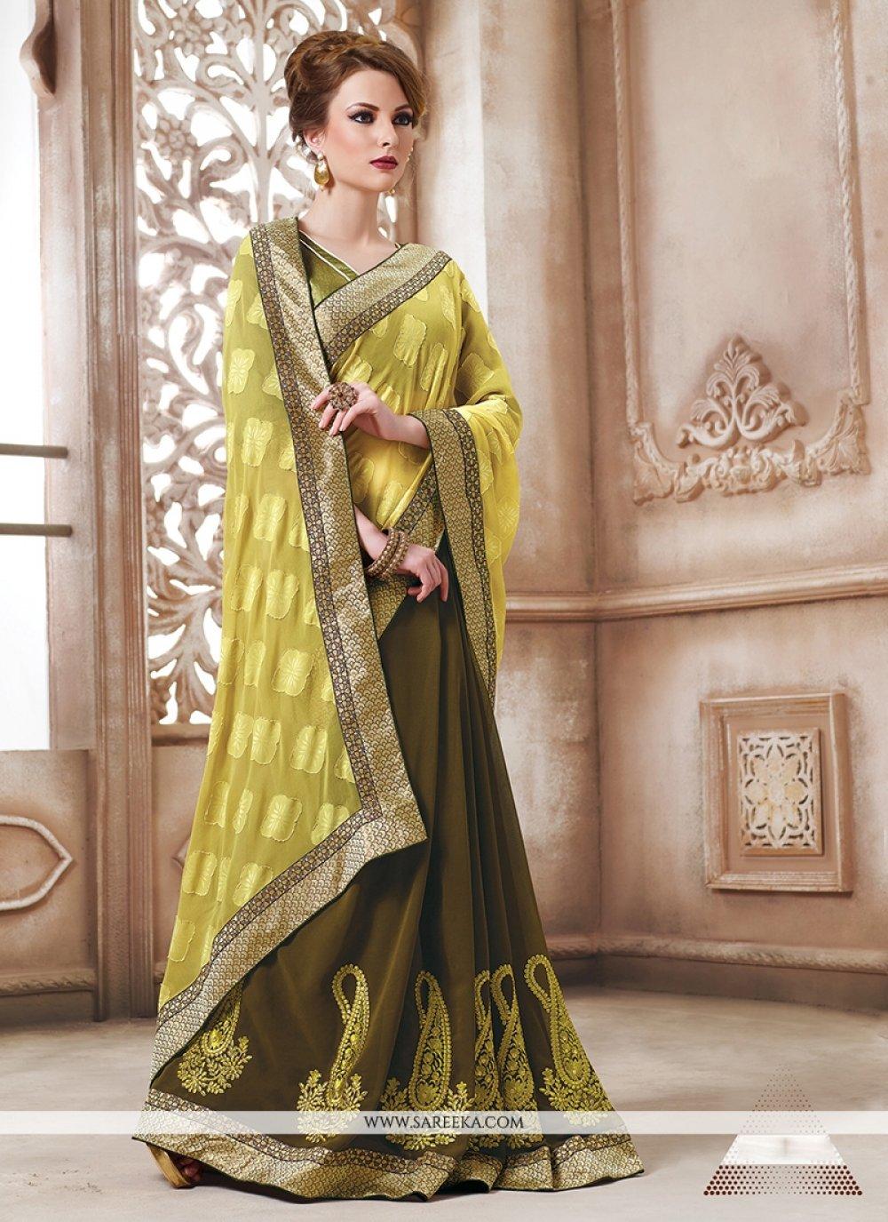 Georgette Green Designer Saree
