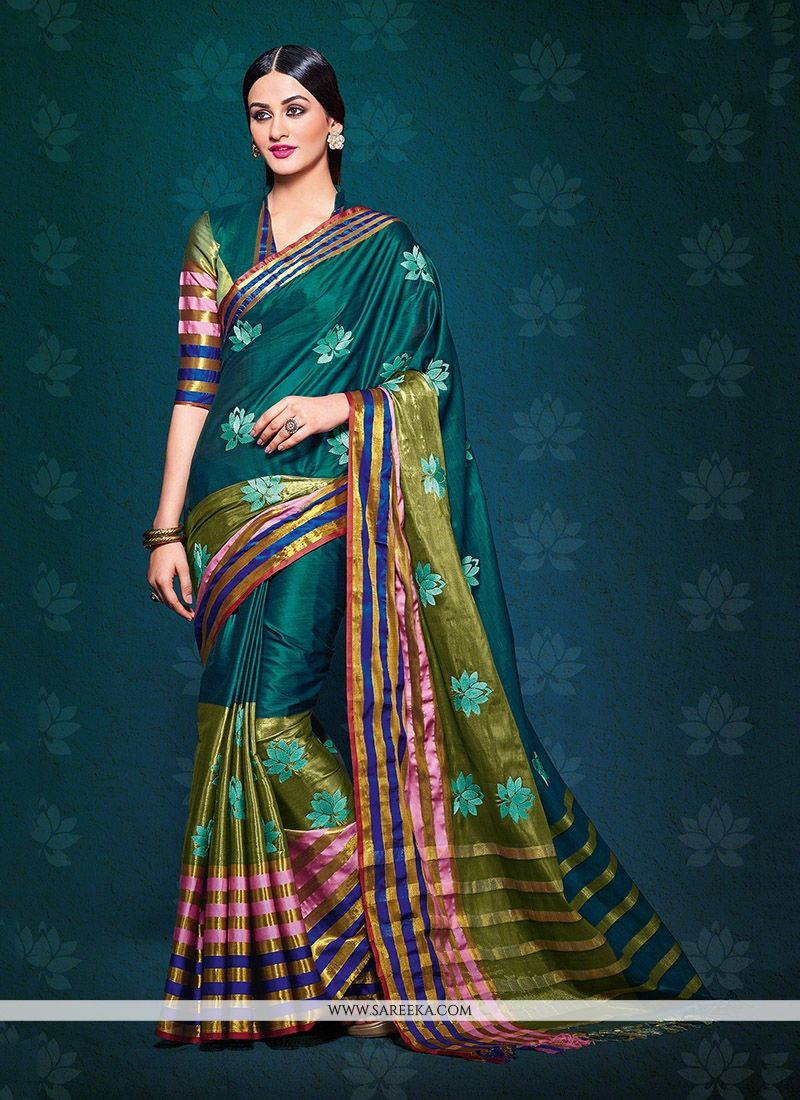 Handloom silk Patch Border Work Designer Saree
