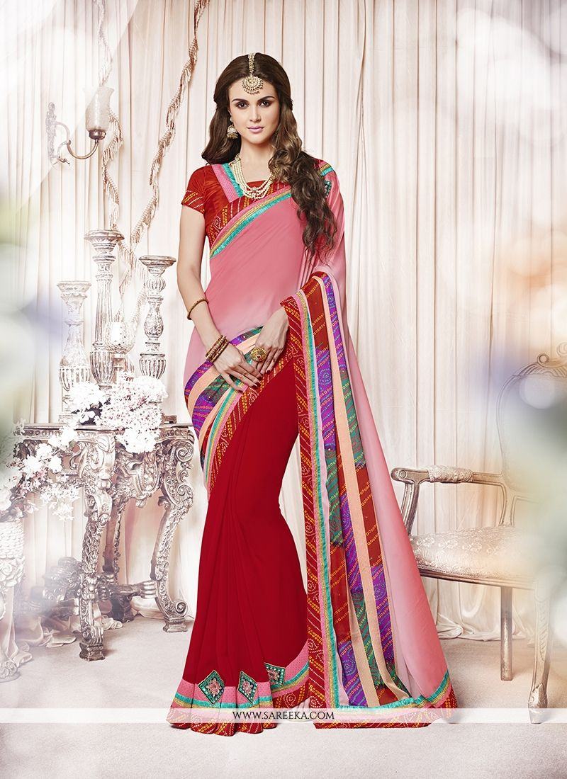 Red Embroidered Work Faux Crepe Designer Saree