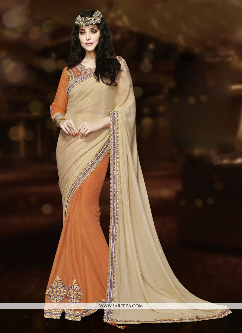 Orange Embroidered Work Classic Designer Saree