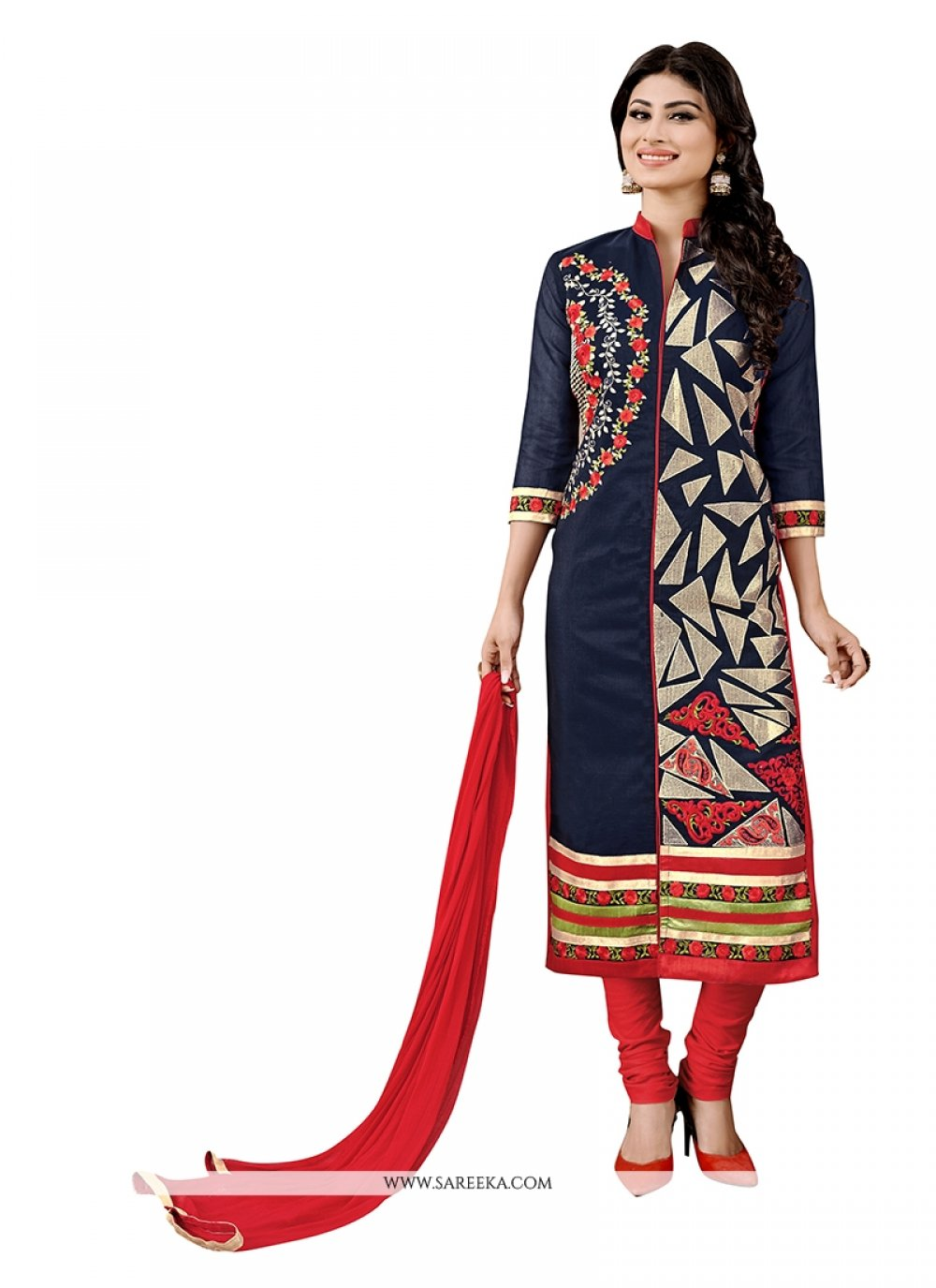 Embroidered Work Navy Blue Fancy Fabric Churidar Designer Suit