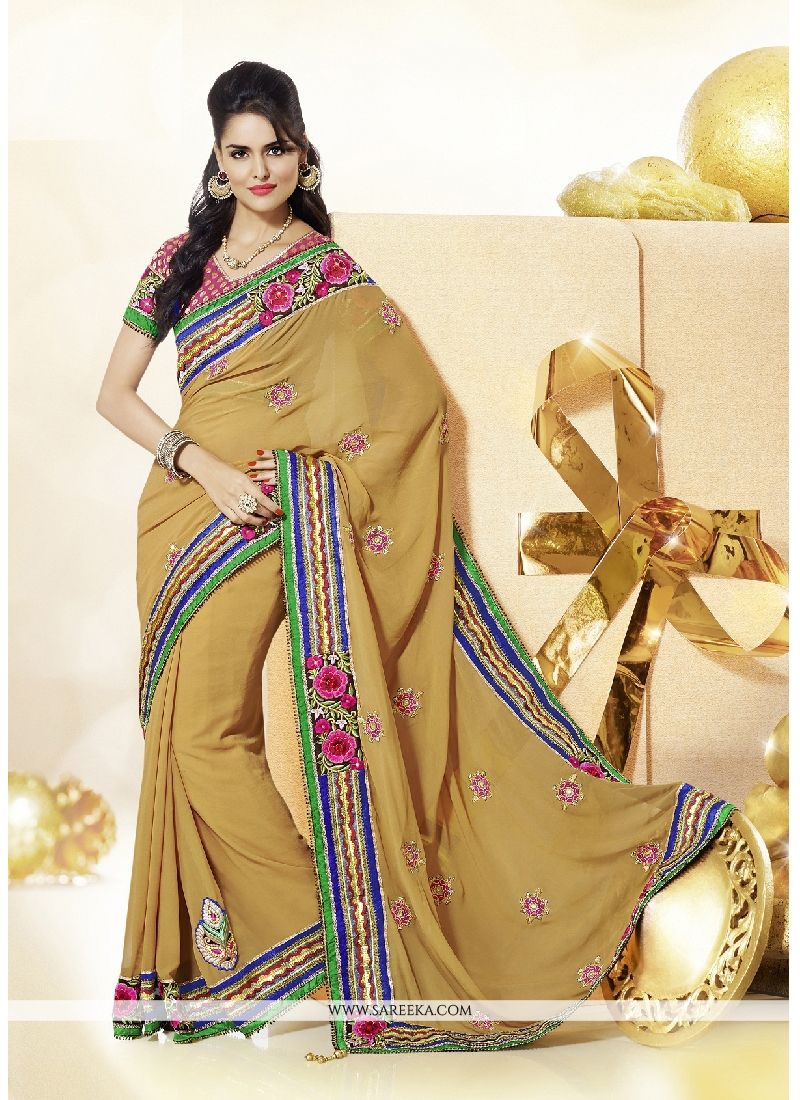 Georgette Beige Embroidered Work Classic Designer Saree