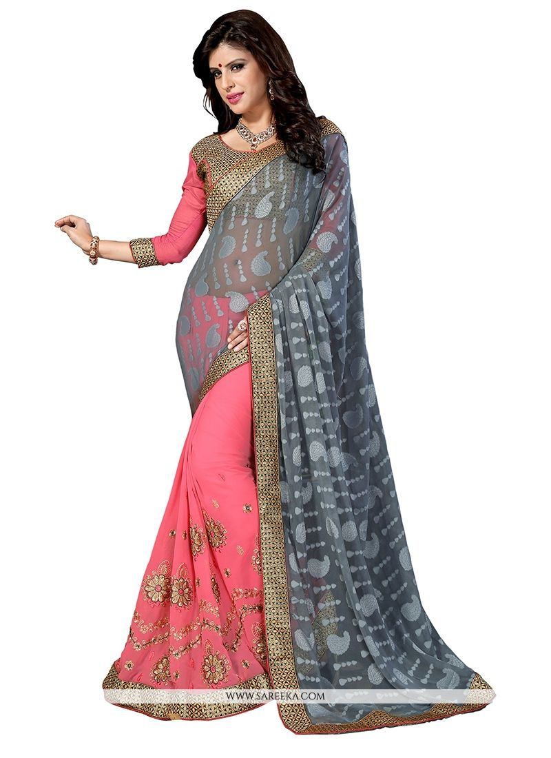 Pink Embroidered Work Shimmer Georgette Designer Half N Half saree