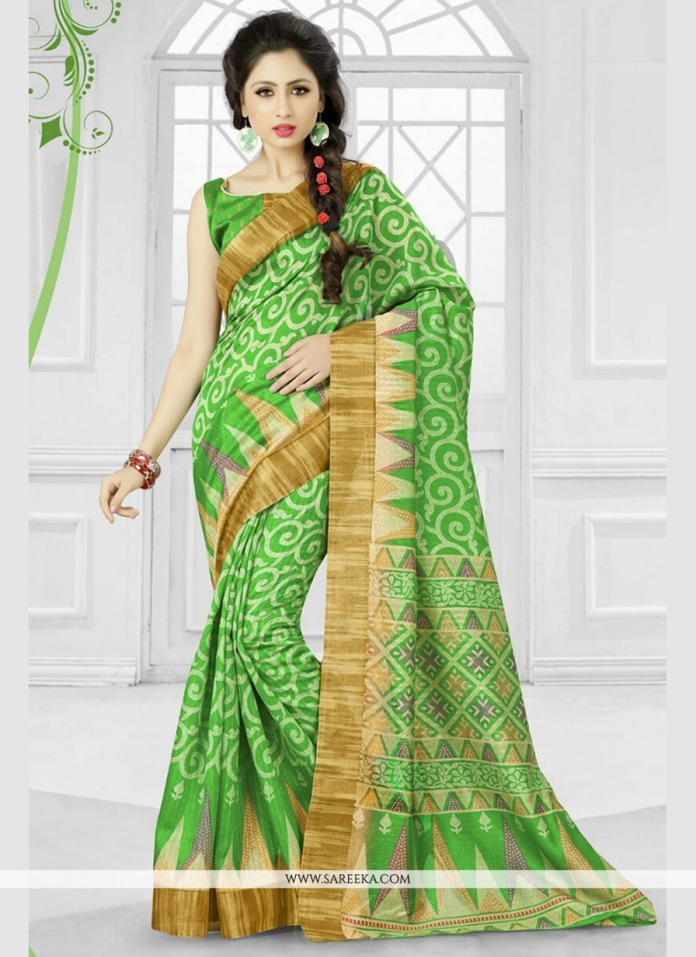 Silk Patch Border Work Printed Saree