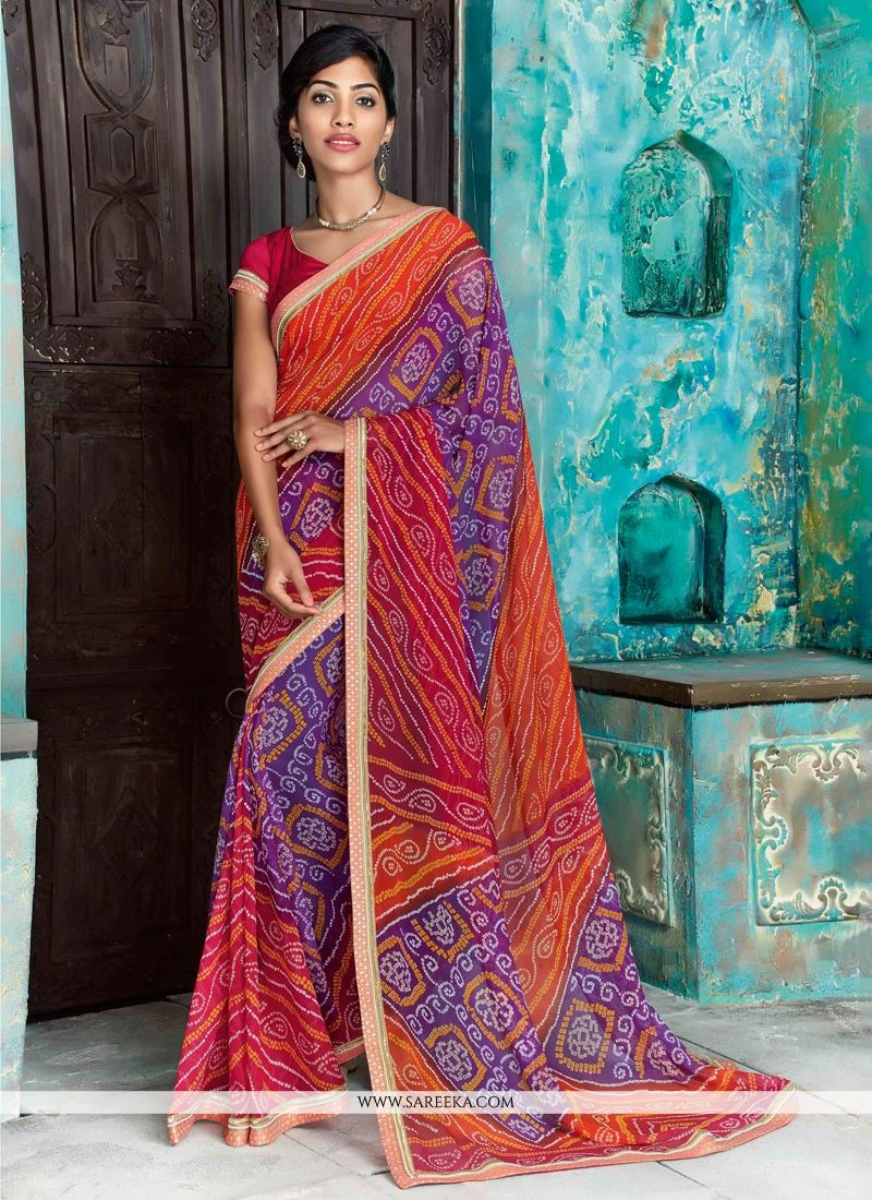 Faux Chiffon Multi Colour Print Work Designer Saree
